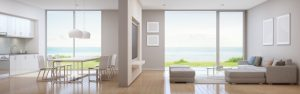 sea view kitchen dining living room luxury beach house modern design