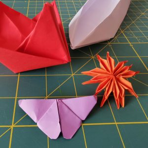different colorful origami paper designs