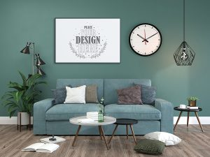 Poster Frame in living room Mockup with green and blue colors