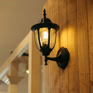 Classic lantern with yellow bulb