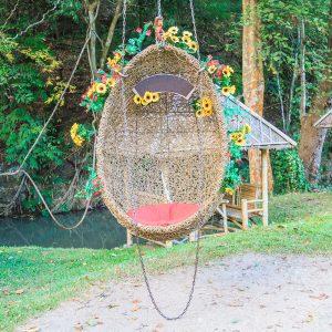 Egg swing in a garden