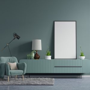 Mirror over a green wall and tv unit