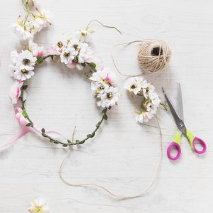 floral crown with scissors