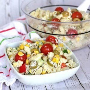 Baked feta pasta salad