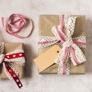 Gift wrap with doilies