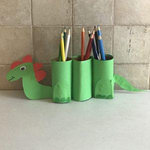 back to school art and craft dinosaur pen organizer