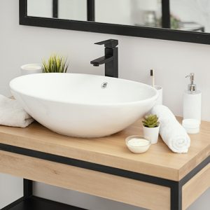 Sink in a small bathroom renovation project