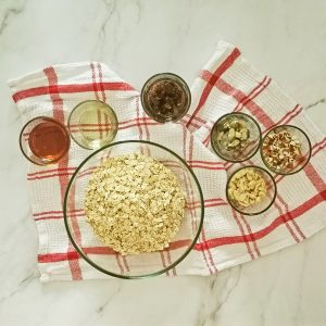 a bowl of oats and other ingredients