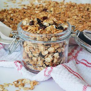 granola jar with a granola tray behind